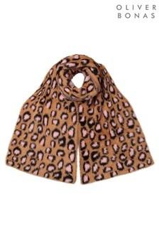 Oliver Bonas Fluffy Leopard Caramel Heavyweight Scarf