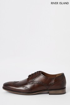 River Island Roger Leather Chocolate Brogues