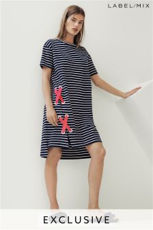 Mix/J.Won Stripe Eyelet Detail Jersey Dress