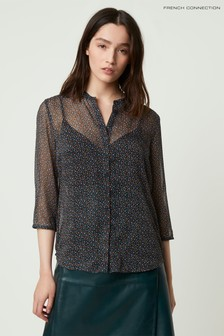 French Connection Green Graziana Crinkle Collarless Shirt