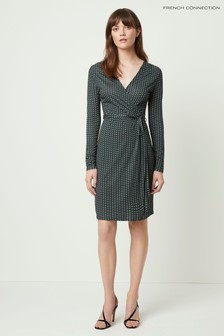 French Connection Green Cosimo Meadow Jersey Wrap Dress With Belt