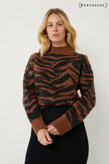 Warehouse Brown Cosy Zebra Jumper