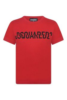 Boys Red Cotton Jersey Logo T-Shirt