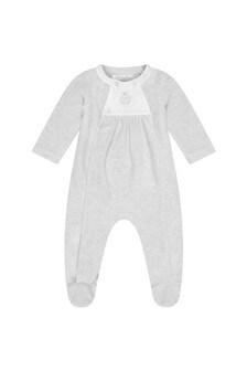 Boys Grey Velour Babygrow