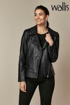 Wallis Black Faux Leather Biker Jacket