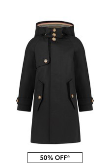 Boys Black Cotton Trench Coat