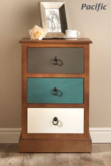 Pacific Lifestyle Pine Wood Multicoloured 3 Drawer Unit