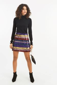 Oasis Natural Rainbow Sequin Mini Skirt