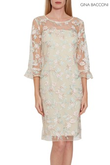 Gina Bacconi Cream Armina Embroidered Dress