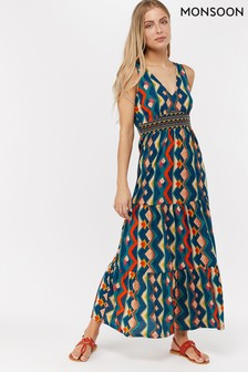 Monsoon Ladies Blue Natalia Jersey Shorter Length Maxi Dress