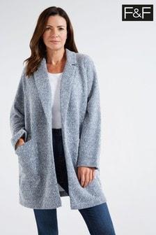 F&F Blue Textured Snit Coat
