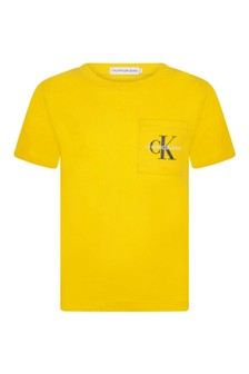 Calvin Klein Jeans Boys Yellow Organic Cotton Pocket T-Shirt