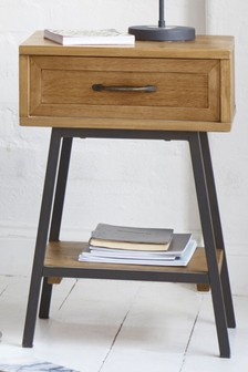 Hoxton Metal Slim 1 Drawer Bedside Table