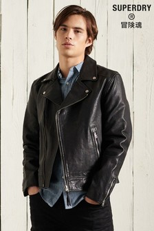 Superdry Leather Moto Biker Jacket