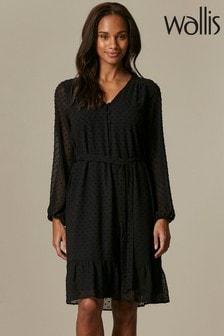 Wallis Black Tiered Dobby Dress