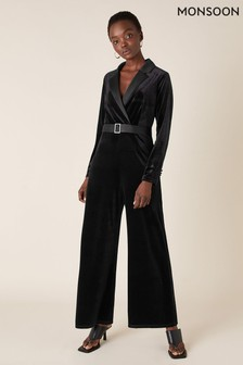 Monsoon Black Sheena Stretch Velvet Wide Leg Jumpsuit