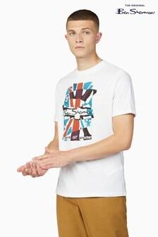 Ben Sherman White Collage Union Jack T-Shirt