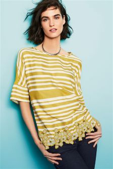 Striped Top With Lace Trim