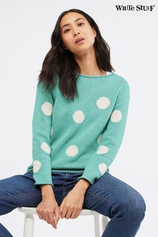White Stuff Blue Polka Spot Jumper