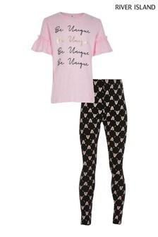 River Island Pink T-Shirt And Legging Set