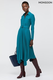 Monsoon Blue Pia Pleated Shirt Jersey Dress