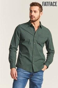 FatFace Green Slim Hove Print Shirt