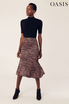 Oasis Black Tiger Peplum Midi Skirt