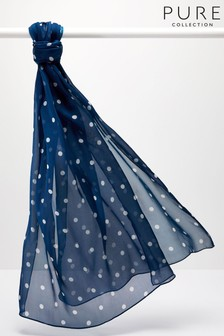 Pure Collection Blue Silk Printed Scarf
