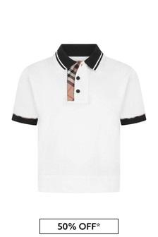 Boys White Cotton Pique Polo Top