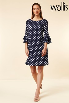 Wallis Blue Ink Spot Double Flute Sleeve Dress
