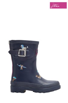 Joules Navy Rain Dogs Printed Welly
