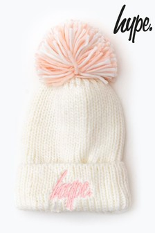 Hype. Off White Knit Shimmer Bobble Beanie