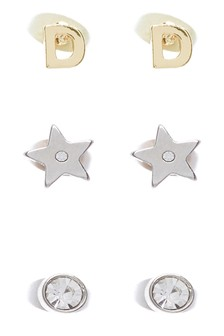 Initial Star Stud Earrings Three Pack