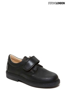 Step2wo Black Mathew Classic Hook And Loop Velcro Shoes