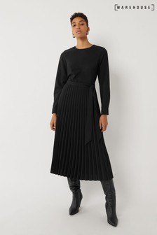 Warehouse Black Long Sleeve Pleated Midi Dress