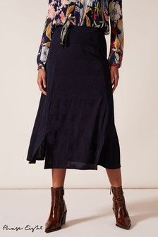 Phase Eight Blue Marion Jacquard Spot And Stripe Skirt