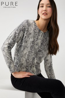 Pure Collection Grey Relaxed Cropped Cardigan with Cashmere