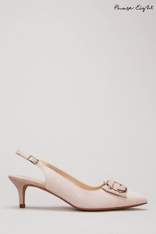 Phase Eight Neutral Ramona Ring Bow Kitten Heels