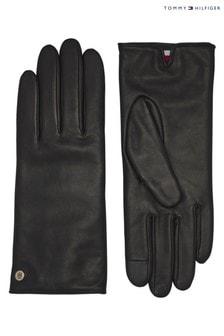 Tommy Hilfiger Black Leather Gloves