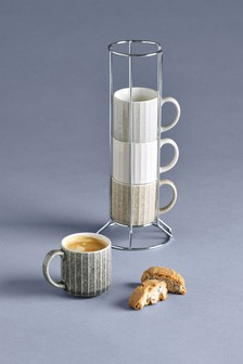 Set of 4 Reactive Espresso Stacking Mugs