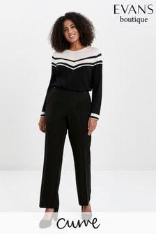 Evans Curve Black Short Length Straight Leg Workwear Trousers