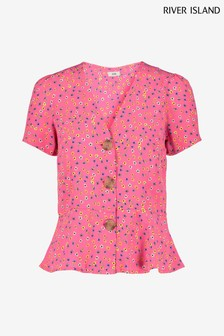 River Island Pink Ditsy Betsy Tea Top