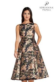 Adrianna Papell Pink Metallic Jacquard Dress