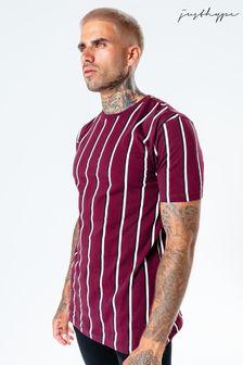 Hype. Mens Burgundy Stripe T-Shirt