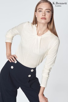 L.K.Bennett Cream Sally Jersey Top