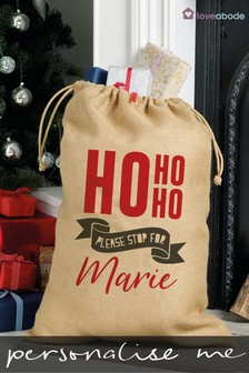 Personalised Ho Ho Ho Christmas Sack by Loveabode