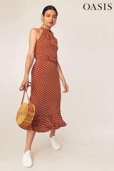 Oasis Brown Spot Halter Dress