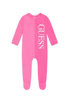 Guess Baby Girls Pink Cotton Babygrow