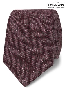 T.M. Lewin Barberis Pink Herringbone Wool And Silk Slim Tie