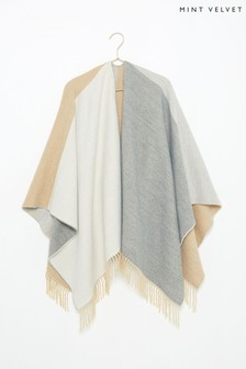 Mint Velvet Camel/Grey Blocked Cape